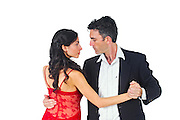 Couple dances tango On white Background