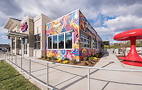 Exterior photo of  Mellow Mushroom Restaurant in Roanoke Virginia by Jeffrey Sauers of Commercial Photographics, Architectural Photo Artistry in Washington DC, Virginia to Florida and PA to New England