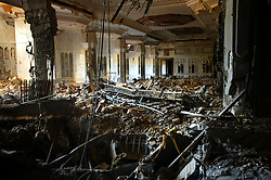 One of the main rooms inside the now partially destroyed Salam Palace, is seen in Baghdad, Iraq, Sept. 29, 2003. According to Mowfaq Al-Tai, an Iraqi architect, the Salam Palace is most representative of the design and architecture used in the hundreds of palaces built for Saddam Hussein. Al-Tai was one the the engineers involved in the construction and quality control of the Hussein palaces.