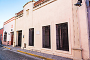 Spanish colonial style building in the Barrio Antiguo or Spanish Quarter neighborhood adjacent to the Macroplaza Grand Plaza in Monterrey, Nuevo Leon, Mexico.