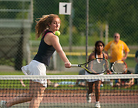 Sunday Swett and Poojita Kasireddy compete in their doubles match during NHIAA State Championship finals at PSU Friday afternoon.  (Karen Bobotas/for the Concord Monitor)