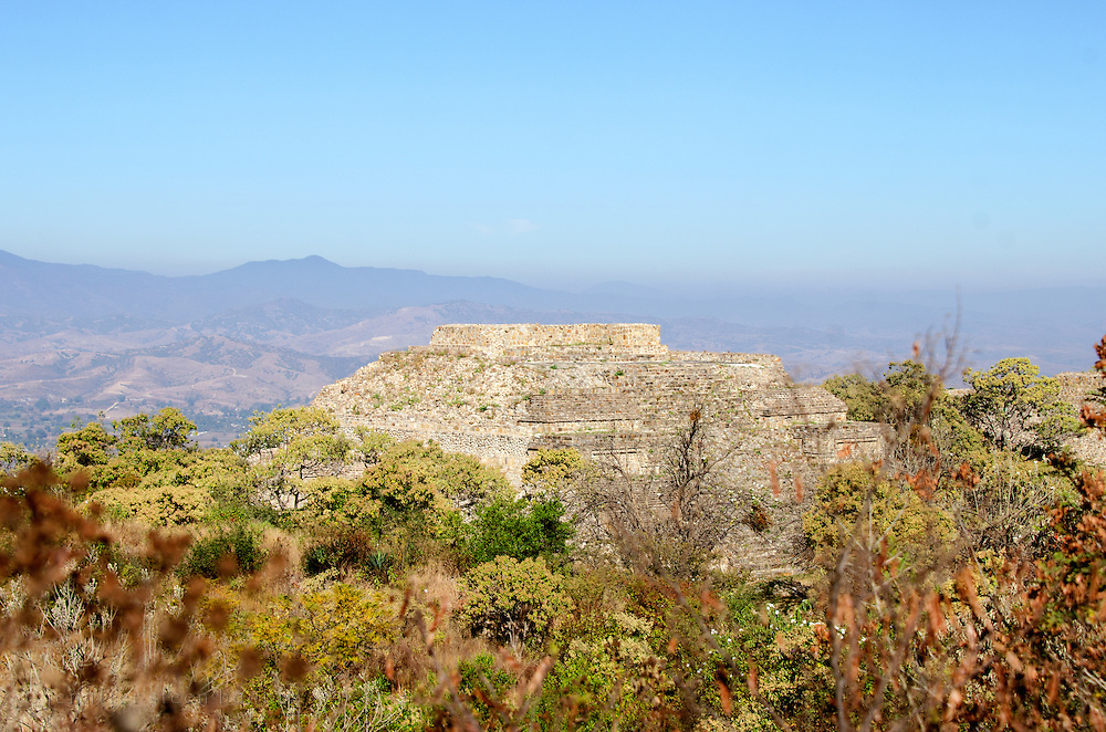 The stepped pyramid called 'Building M' at the ruins of Monte Alban, Oaxaca, Mexico.