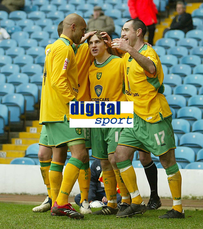 Photo: Aidan Ellis.<br /> Leeds United v Norwich City. Coca Cola Championship. 11/03/2006.<br /> Norwich goal scorers Paul McVeigh and Andy Hughes celebrate the first goal