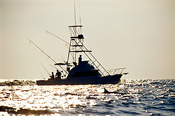 long-snouted spinner dolphin and sport fishing boat, Stenella longirostris, Kona, Big Island, Hawaii, Pacific Ocean