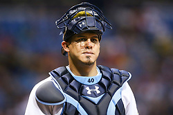 September 16, 2017 - St. Petersburg, Florida, U.S. - WILL VRAGOVIC   |   Times.Tampa Bay Rays catcher Wilson Ramos (40) looks toward the dugout after the RBI double by Boston Red Sox third baseman Rafael Devers (11) in the sixth inning of the game between the Boston Red Sox and the Tampa Bay Rays at Tropicana Field in St. Petersburg, Fla. on Saturday, Sept. 16, 2017. (Credit Image: © Will Vragovic/Tampa Bay Times via ZUMA Wire)