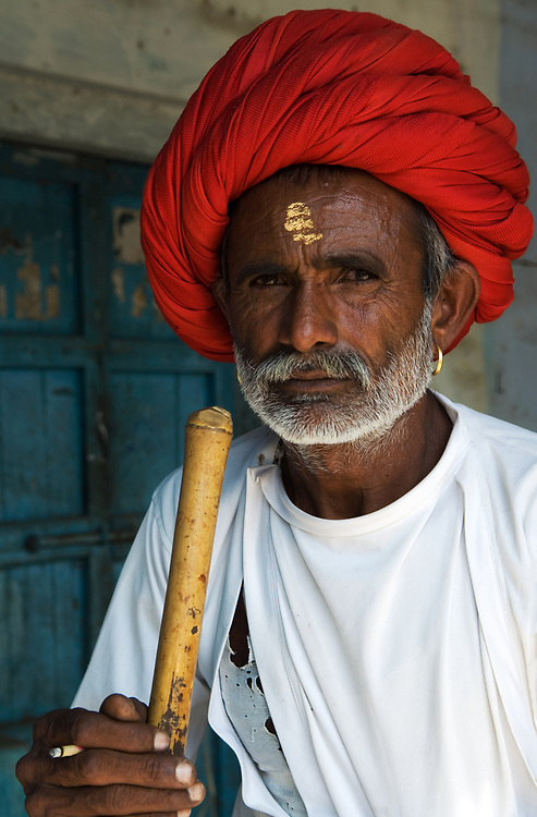Portrait of a Rabari tribesman at a camel fair near Jodhpur