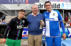 Steve Hamer chairman of Bristol Rovers FC is presented with a trophy for his help in the Bristol Fan Derby - Mandatory by-line: Robbie Stephenson/JMP - 04/09/2016 - FOOTBALL - Memorial Stadium - Bristol, England - Bristol Rovers Fans v Bristol City Fans - Bristol Fan Derby