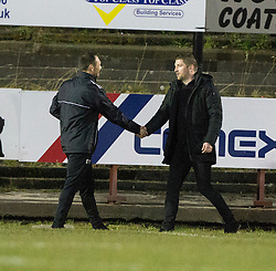 Albion Rover's manager Darren Young and Airdrie's manager Mark Wilson at the end. Albion Rover 1 v 2 Airdrie, Scottish League 1 game played 5/11/2016 at Cliftonhill.