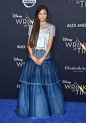 Storm Reid attends the premiere of Disney's 'A Wrinkle In Time' at the El Capitan Theatre on February 26, 2018 in Los Angeles, California. Photo by Lionel Hahn/AbacaPress.com
