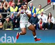 Manu Tuilagi of England in action during the Guinness Six Nations between England and Ireland at Twickenham  Stadium, Sunday, Feb. 23, 2020, in London, United Kingdom. (ESPA-Images/Image of Sport)