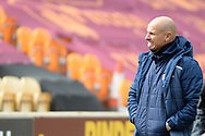 Scunthorpe United manager Neil Cox half body portrait during the EFL Sky Bet League 2 match between Bradford City and Scunthorpe United at the Utilita Energy Stadium, Bradford, England on 1 May 2021.