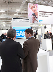 SAP software stall at CeBIT 2011 digital and electronics trade fair in Hannover March 2011 Germany