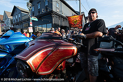 There was an unofficial bagger bike show at the Brady Street Experience, where Brady was closed to 4-wheelers and a street party raged until late at night during the Harley-Davidson 115th Anniversary Celebration event. Milwaukee, WI. USA. Friday August 31, 2018. Photography ©2018 Michael Lichter.