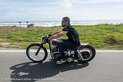 Bryan Lane of Charlotte, NY rides his custom Harfley-Davidson Panhead on a ride north on A1A from Daytona Beach to Flagler Beach during Daytona Beach Bike Week 2015. FL, USA. March 13, 2015.  Photography ©2015 Michael Lichter.