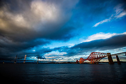 The Queensferry Crossing, the newest Forth bridge, Forth Road Bridge and the Forth Rail Bridge, photographed today.