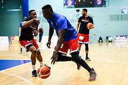 Daniel Edozie and Panos Mayindombe of Bristol Flyers - Rogan/JMP - 19/04/2019 - BASKETBALL - University of Worcester Arena - Worcester, England. - Worcester Wolves v Bristol Flyers - British Basketball League.