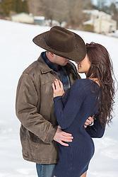 sexy cowboy couple on a ranch
