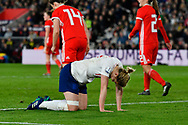 Ellen White (17) of England looks frustrated, looks dejected after missing a goal scoring chance during the FIFA Women's World Cup UEFA Qualifier match between England Ladies and Wales Women at the St Mary's Stadium, Southampton, England on 6 April 2018. Picture by Graham Hunt.