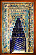 Tiled Niche in coloured glazed tiles from Ibrahim Bey Ottoman public soup kitchens in Karaman, Medieval Anatolian Turkey, 1432. The Pavilion of the Istanbul Archaeological Museum.