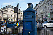 Old Police call box at Piccadilly Circus in London, England, United Kingdom.