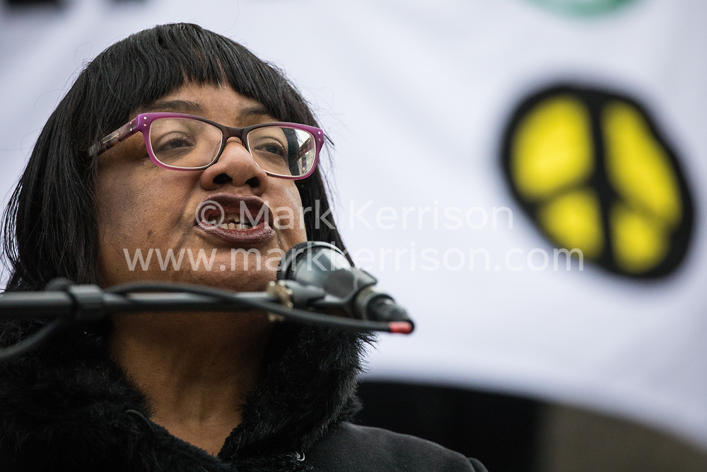 London, UK. 11 January, 2020. Diane Abbott, Shadow Home Secretary, addresses the No War on Iran demonstration in Trafalgar Square organised by Stop the War Coalition and the Campaign for Nuclear Disarmament to call for deescalation in the Middle East following the assassination by the United States of Iranian General Qassem Soleimani and the subsequent Iranian missile attack on US bases in Iraq.