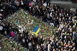 April 9, 2017 - Stockholm, SWEDEN - Thousands of people attended a manifestation on the Sergel square in central Stockholm two days after the terror attack in Stockholm. (Credit Image: © Niklas Larsson/Bildbyran via ZUMA Wire)