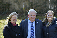 Merrick, New York, USA. April 8, 2017.  L-R, CLAUDIA BORECKY, President of North Merrick and Merrick Civic Association; New York State Senator JOHN E BROOKS (D - 8th Dist); and SUSE MOLLER of Merrick, pose at Eggstravaganza annual community celebration, hosted by North Merrick Civic Association and American Legion Auxiliary Merrick Post 1282, with Easter Egg Hunts, balloons, and other outdoor family fun.