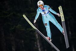 Aleksandra Barantceva of Russia soaring through the air during Trial Round at Day 1 of World Cup Ski Jumping Ladies Ljubno 2019, on February 8, 2019 in Ljubno ob Savinji, Slovenia. Photo by Matic Ritonja / Sportida