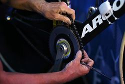 Mechanics repair bicycles during day six of the Six Day Series at Lee Valley Velopark, London