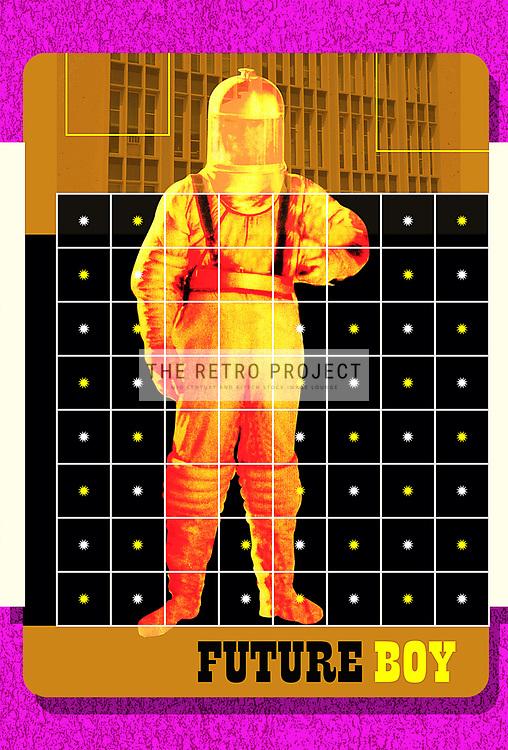 Futuristic spaceman astronaut in atomic era fifties gold spacesuit on retro starburst background