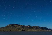 Moonlight scene of Sheep Mountain and Buffalo Bill Resevoir