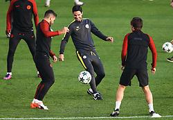 Manchester City coach Mikel Arteta joins in training with Sergio Aguero - Mandatory by-line: Matt McNulty/JMP - 31/10/2016 - FOOTBALL - City Football Academy - Manchester, England - Manchester City v Barcelona - UEFA Champions League - Group C