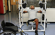 UA student, Chris Bryant, who is an Army veteran who served in Iraq from 2005-2006, works out at the campus Disability Resource Center.  Bryant is on the university's wheelchair basketball team.