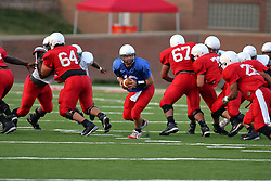 18 AUG 2007:  Preston Earl works the pocket waiting for Cortes Rice. The Illinois State Redbirds, ranked in the top 10 in pre-season polls, prepare for the beginning of the season during the annual Red/White inter-squad scrimmage on the newly installed turf at Hancock stadium in Normal Illinois.