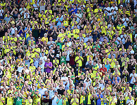 Norwich City fans during the second half<br /> <br /> Photographer Chris Vaughan/CameraSport<br /> <br /> Football - The EFL Sky Bet Championship - Blackburn Rovers v Norwich City - Saturday 6th August 2016 - Ewood Park - Blackburn<br /> <br /> World Copyright © 2016 CameraSport. All rights reserved. 43 Linden Ave. Countesthorpe. Leicester. England. LE8 5PG - Tel: +44 (0) 116 277 4147 - admin@camerasport.com - www.camerasport.com