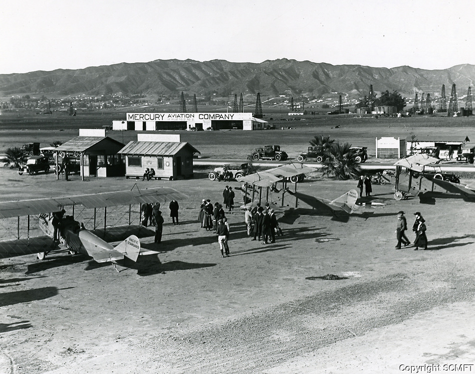1921 Mercury Aviation at DeMille Field #2 at Wilshire Blvd. & Fairfax Ave. Rogers Field in the foreground.