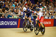 Women Keirin, Mathilde Gros (France) gold medal, Daria Shmeleva (Russian Federation) bronze medal during the Track Cycling European Championships Glasgow 2018, at Sir Chris Hoy Velodrome, in Glasgow, Great Britain, Day 6, on August 7, 2018 - Photo luca Bettini / BettiniPhoto / ProSportsImages / DPPI<br /> - Restriction / Netherlands out, Belgium out, Spain out, Italy out -