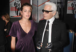 Daughter of Princess Caroline of Monaco Charlotte Casiraghi gave birth to a baby boy she had with actor and comedian Gad Elmaleh at the Princess Grace Hospital in Monaco on Tuesday it was reported on Wednesday December 18. File photo : Charlotte Casiraghi and designer Karl Lagerfeld attend the 'Lagerfeld Confidential' Premiere directed by Rodolphe Marconi, held at Drugstore Publicis Cinema, in Paris, France, on October 6, 2007. Photo by Christophe Guibbaud/ABACAPRESS.COM