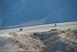 Harley-Davidson Museum Archive Restorer/Conservator Bill Rodencal of Wisconsin on his 1915 Harley-Davidson works his way up the steep mountain pass just out of Palm Desert on the Palms to Pines Scenic Byway with Cannonball insurance sponsor Greg Allen and Pamela Sanwald on Gregs restored BMW close behind on this last day of the Motorcycle Cannonball Race of the Century. Stage-15 ride from Palm Desert, CA to Carlsbad, CA. USA. Sunday September 25, 2016. Photography ©2016 Michael Lichter.