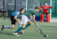 WASSENAAR - Menno Boeren (Rotterdam) met Pelle Vos (HGC)  tijdens de hoofdklasse competitiewedstrijd heren, HGC-HC ROTTERDAM (0-7) .     COPYRIGHT  KOEN SUYK