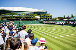 July 2, 2018 - London, United Kingdom - 180702 Spectators watch the game between Sergiy Stakhovsky of Ukraine and Joao Sousa of Portugal during day 1 of Wimbledon on July 2, 2018 in London..Photo: Ludvig Thunman / BILDBYRN / kod LT / 35496 (Credit Image: © Ludvig Thunman/Bildbyran via ZUMA Press)