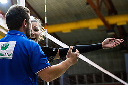 Olivera Kostic of Calcit Volley and referee during 3rd Leg Volleyball match between Calcit Volley and Nova KBM Maribor in Final of 1. DOL League 2020/21, on April 17, 2021 in Sportna dvorana, Kamnik, Slovenia. Photo by Matic Klansek Velej / Sportida