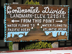 Landmark Sign at The Continental Divide in New Mexico USA. Along the Historic US Route 66 Roadway.