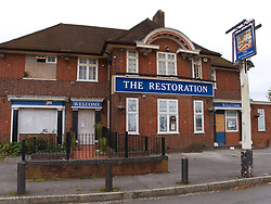 The Restoration is a large pub on Oxford Road on the edge of Reading's inner city. Now empty and falling into dereliction since it closed in 2015. A sign of continued decline for pubs. UK 2020