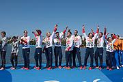 "Rio de Janeiro. BRAZIL     GBR M8+. Gold Medalist Bow. Bow. <br /> Scott DURANT, Tom RANSLEY, T Andrew T<br /> HODGE,  Matt GOTREL,  Pete REED,  Paul<br /> BENNETT,  Matt LANGRIDGE,   William SATCH and Cox. Phelan HILL, at the, 2016 Olympic Rowing Regatta. Lagoa Stadium, Copacabana,  ""Olympic Summer Games""<br /> Rodrigo de Freitas Lagoon, Lagoa. Local Time 12:13:39  Saturday  13/08/2016<br /> [Mandatory Credit; Peter SPURRIER/Intersport Images]"