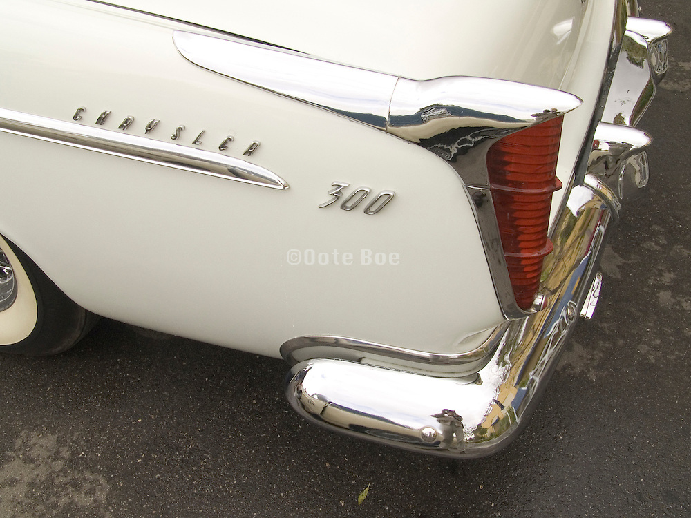 The fin of a classic Chrysler 300 car from the 1950s.