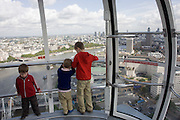 135 metres (443 ft) above central London, passengers enjoy panoramic views of the capital aboard a London Eye flight.