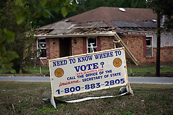 06 November 2012. Braithwaite, Plaquemines Parish, Louisiana,  USA. .Polling disruptions were not only restricted to hurricane hit east coast residents. Voting was conducted from a trailer in Hurricane Isaac devastated Braithwaite in Plaquemines Parish. The parish was smashed by Hurricane Isaac on August 29th. There is no power or running water to homes in the neighbourhood hit hard by the storm over two months previously. .Photo; Charlie Varley.