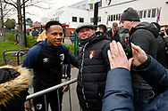 Nathaniel Clyne who on loan from Liverpool, has a selfie with a fan on arrival at the Vitality Stadium before the The FA Cup 3rd round match between Bournemouth and Brighton and Hove Albion at the Vitality Stadium, Bournemouth, England on 5 January 2019.