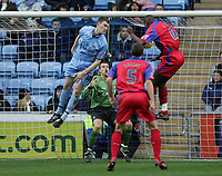 Photo: Lee Earle.<br /> Coventry City v Crystal Palace. Coca Cola Championship. 13/01/2007. Leon Cort (R) heads the ball home to score the third goal for Palace.